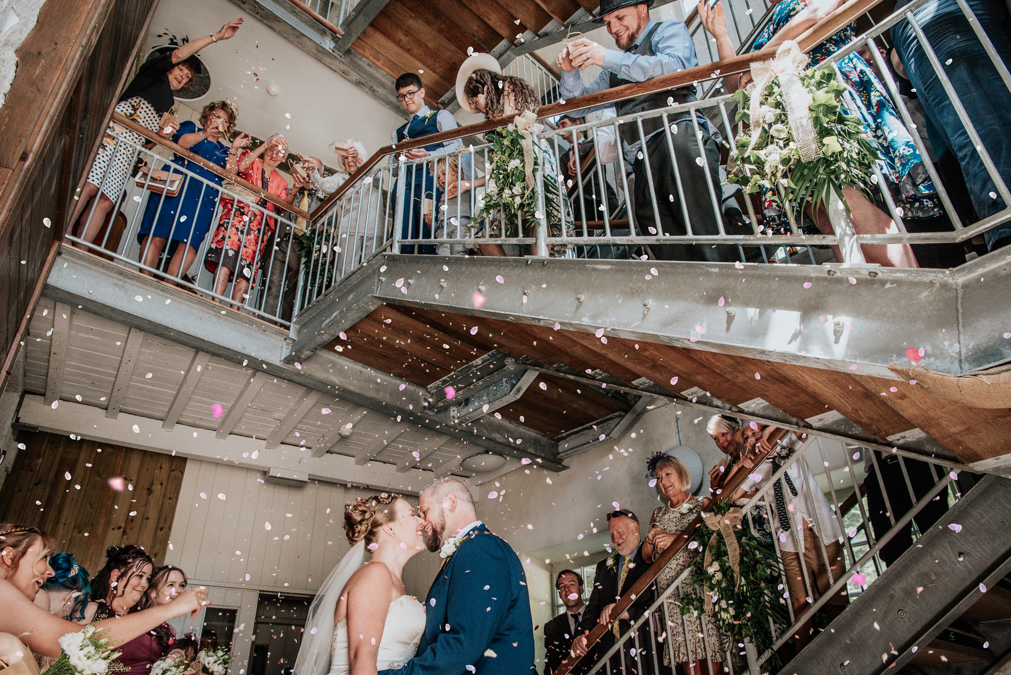 Confetti shot on stairs