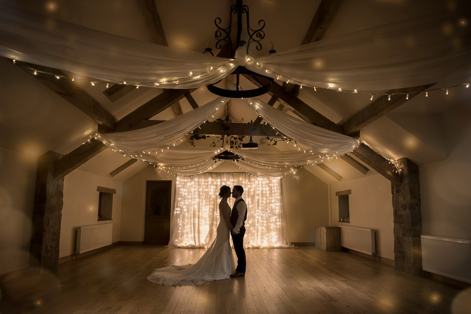 Bride and Groom inside at Beeston Manor
