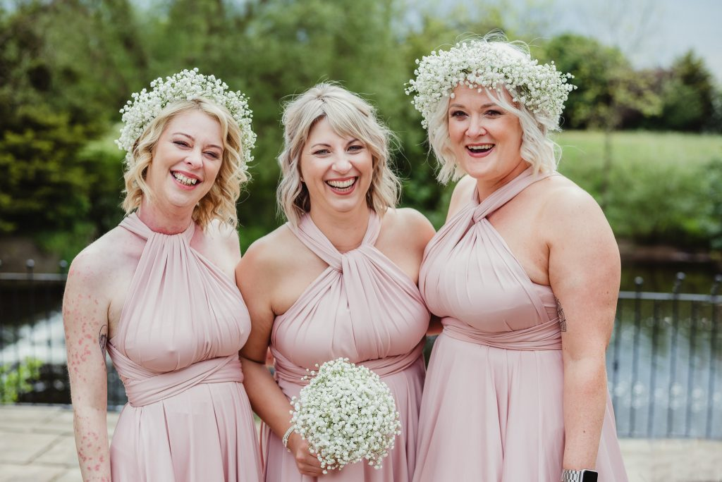 bridesmaids by river
