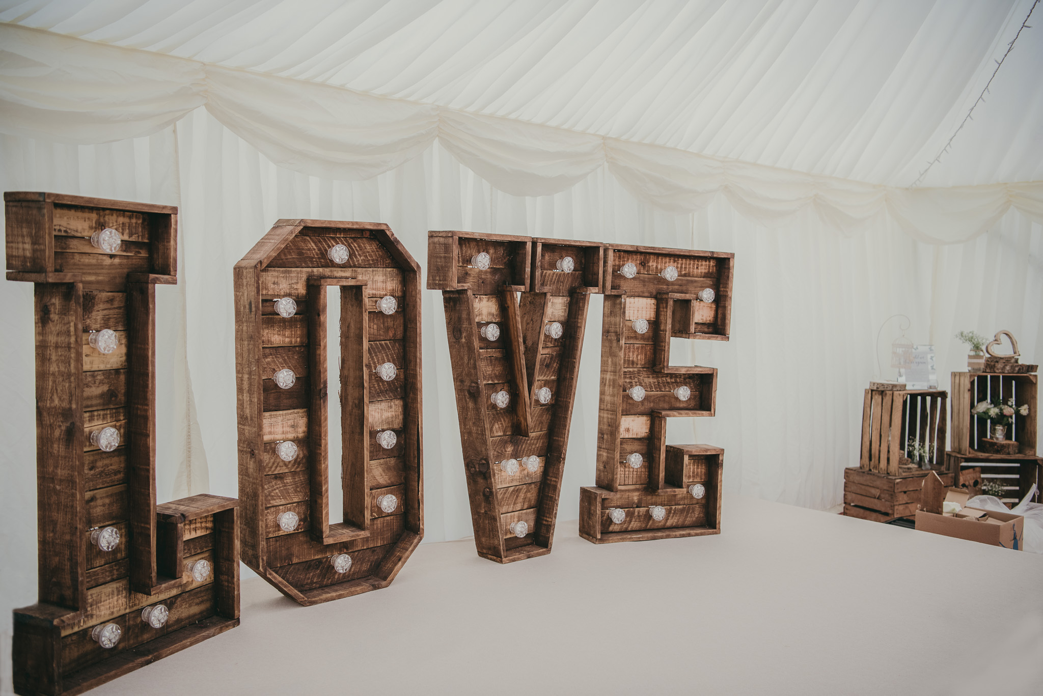 Love sign in marquee